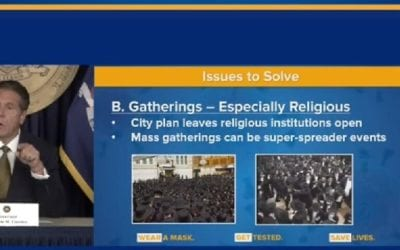 Gov. Cuomo uses Old 2006 Image of Jews Gathering in Crowd to Depict them as Law-Breakers in 2020