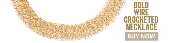 Gold Wired Crocheted Necklace. Buy Now.