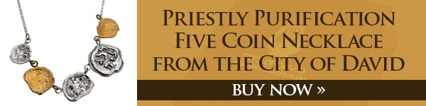 Priestly purification five coin necklace from the City of David. Buy now!