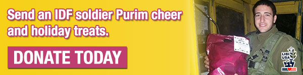 Send an IDF soldier Purim cheer and holiday treats. Donate today!