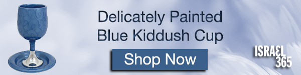 Delicately painted blue Kiddush Cup. Shop Now!